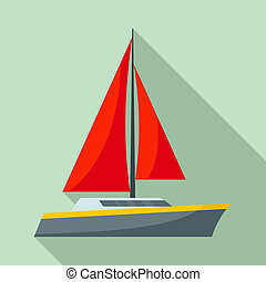 Red sail yacht icon, flat style