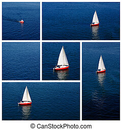 Red sailboat and a tiny red motorbo