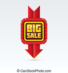 Red Sale Badge With Shadow on White Background.