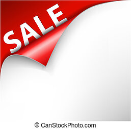 Red sale corner background - paper with curl