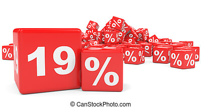 Red sale cubes. Nineteen percent discount. 3D illustration.