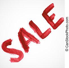 Red sale inscription of watercolor paint
