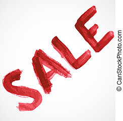 Red sale inscription of watercolor paint