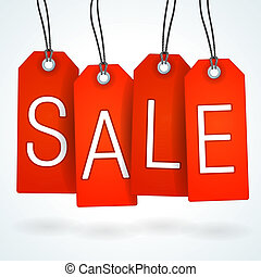 Four hanging sale tags on bright background