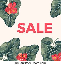 Red sale sign on promo poster with leaves and flowers