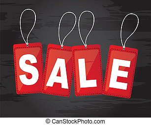 sale tags - red sale tags over black background. vector...