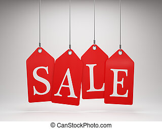 Red sale tags hanging
