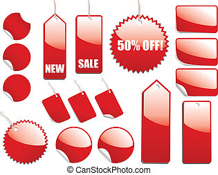 Red, shiny sale tags and stickers