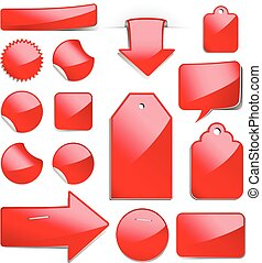 Red Sale Tags - Set of glossy sale tags, stickers and...