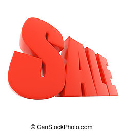 Red sale text isolated on white background.
