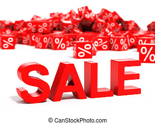 Red sale word in focus