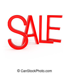 Red Sale word isolated on white
