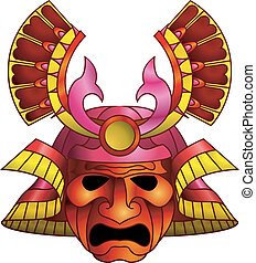 Red samurai mask - An illustration of a red orange and...