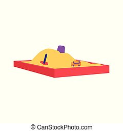 Red sandbox with pile of sand and children toys in flat style.