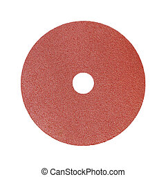 Red sandpaper isolated on white background