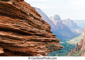 Red Sandstone in Zion National Park, Utah, USA, focus on...