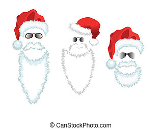 Red Santa Claus Hat, beard and glasses. Vector illustration...
