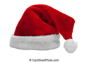 Red santa claus hat on white background.