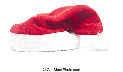red Santa Claus hats isolated on white background