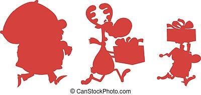 Red Santa Claus,Reindeer And Elf