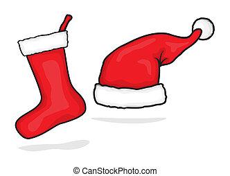 red santa hat and christmas stockin
