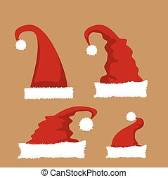 red Santa hat icon set.