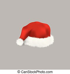 Red Santa hat - realistic isolated vector illustration.