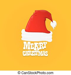 red Santa hat vector. merry christmas card
