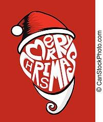 Red santa merry chrismas design, vector ,illustration