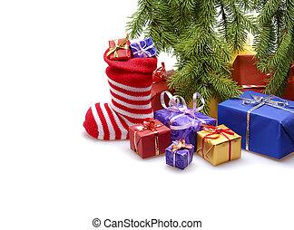 santa stocking - red santa stocking isolated on white...