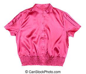 red satin blouse Women's Fashion