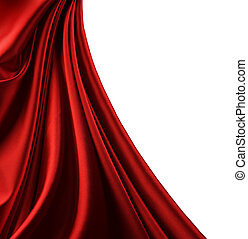 Red Satin Border. Isolated On White