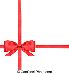 red satin bow knot and ribbons on white - set 12