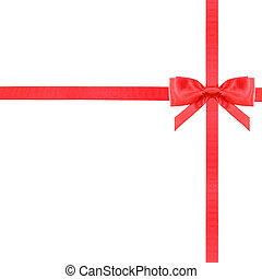 red satin bow knot and ribbons on white - set 13