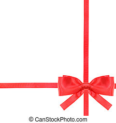 red satin bow knot and ribbons on white - set 14