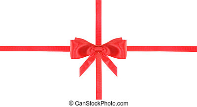 red satin bow knot and ribbons on white - set 18 - one red...