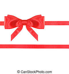 red satin bow knot and ribbons on white - set 24