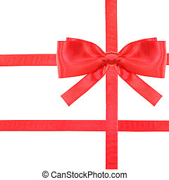 red satin bow knot and ribbons on white - set 29
