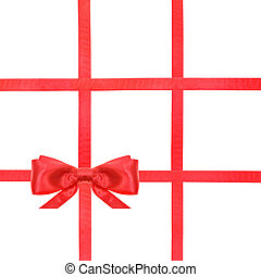 red satin bow knot and ribbons on white - set 39