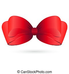 Red satin bow on white background. Vector illustration.