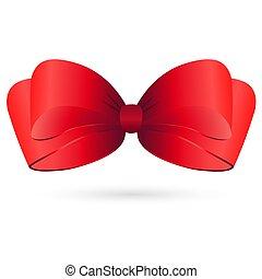 Red satin bow on white background. Vector illustration.