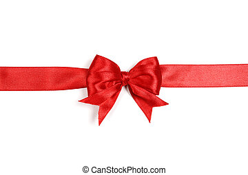 Red satin gift bow isolated on white