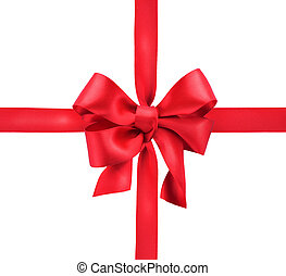 Red satin gift bow. Ribbon. Isolated on white