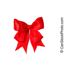 Red satin gift bow. Tape. Isolated on white