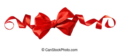 Red satin ribbon bow in a line festive arrangement