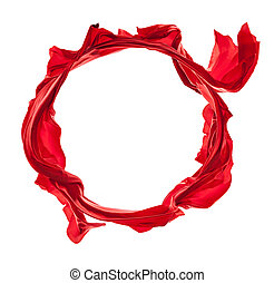 Red satins in circle shape on white background - Isolated...