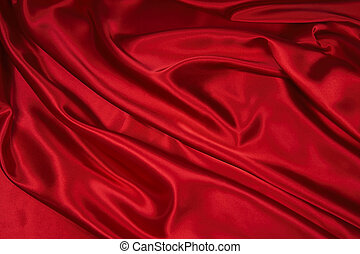 Red Satin/Silk Fabric 1 - Luxurious deep red satin/silk...