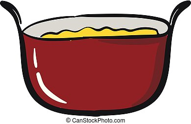 Red saucepan, vector or color illustration.