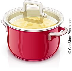 Red saucepan with lid. Kitchen tableware.