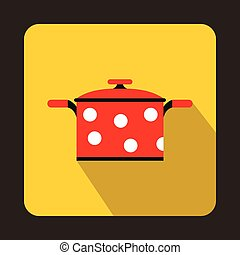 Red saucepan with white dots icon in flat style
